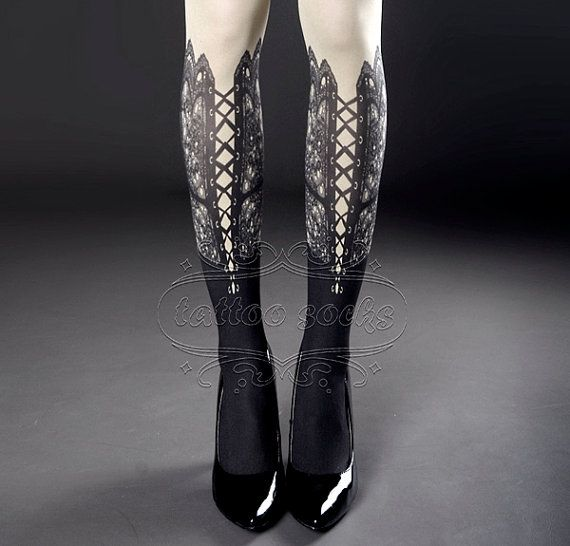 SALE-20%endsOCT28 Tattoo Tights white one size by tattoosocks