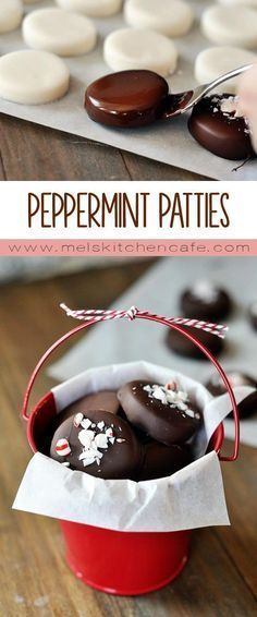 Homemade peppermint patties. Adorable, delicious, and so much better than…