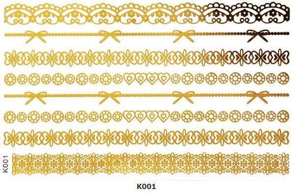 corrente de ouro etiqueta flor pena tatuagem temporária metálico