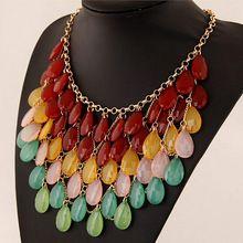 2015 новый оптовые ювелирные изделия большой цветок себе ожерелье кисточкой колье Ожерелье 18 К золотая цепь конфеты роскошные ожерелье для девочки(China (Mainland))