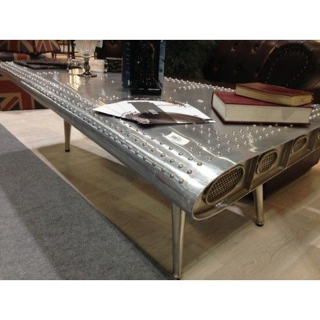 Industrial Aluminium Coffee Table Airplane Wing
