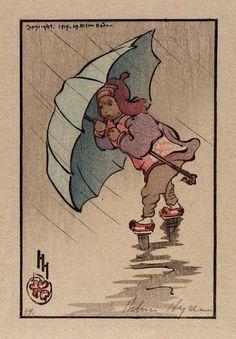 Helen Heide - L'ombrello blu - 1914