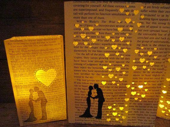 Book Wedding, Bride & Groom Luminary Set, First Anniversary Paper Gifts, Library Wedding, Book Decor, Love, Wedding Lanterns