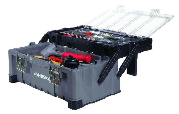 Husky 22 in. Cantilever Electricians Organizer Plastic Storage Tool Box #Husky