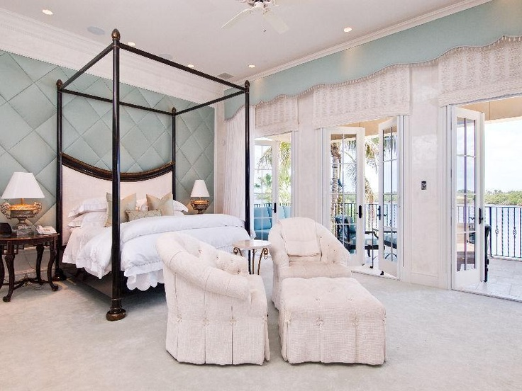 Luxury Waterfront Master Bedroom Tufted Walls Aqua White