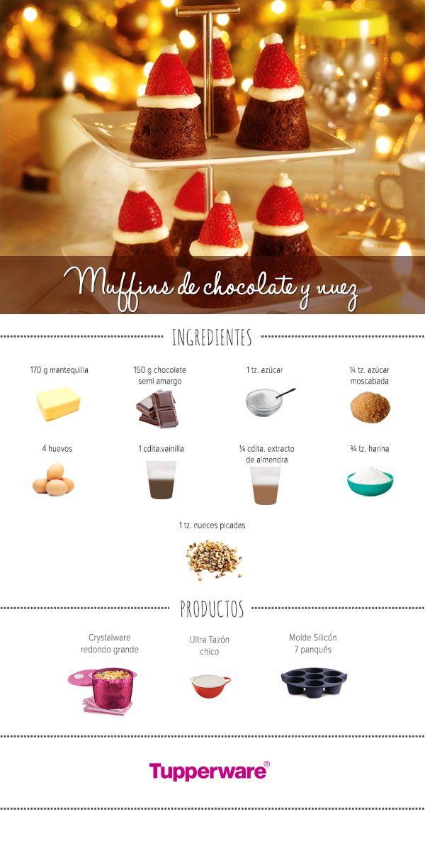 Los moldes de silicón son perfectos para hacer unos Muffins de chocolate y nuez. ¡Anímate a prepararlos! #Tupperware #Recetas #Muffins