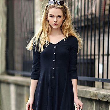 kvinders afslappet mikro-elastisk langærmet over knæet kjole (bomuld) - DKK kr. 75