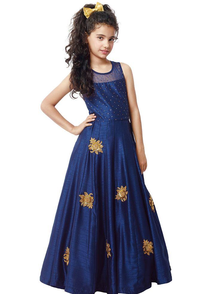 Тёмно-синее длинное платье в пол, без рукавов, для девочки от 2 до 12 лет