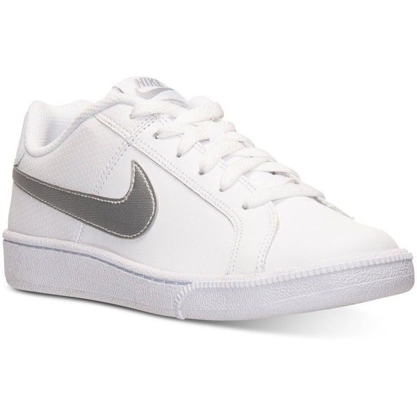 Nike Women's Court Royale Casual Sneakers from Finish Line ($50) ❤ liked on Polyvore featuring shoes, sneakers, tennis sneakers, tennis shoes, nike, tennis trainer and nike trainers