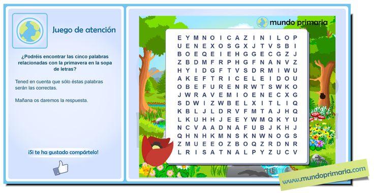 Esta es una sopa de letras dedicada especialmente a la primavera. #infography #children #education #resources #flowcharts #school #spanish