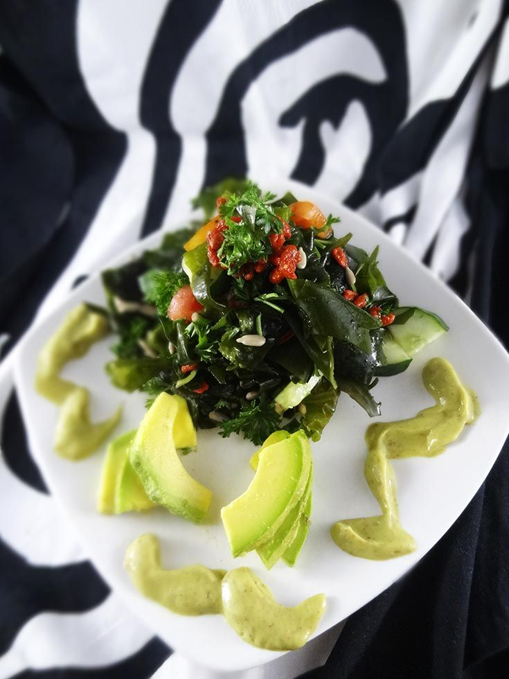35 best raw food made fun easy beautiful images on pinterest raw vegan kombu seaweed avocado salad with sweet onion dressing forumfinder Choice Image
