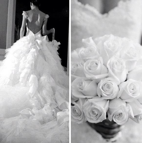 Perfect match wedding dress and bouquet