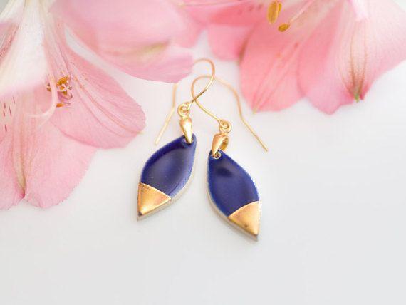 Blue drop earrings Gold drop earrings Gold plated earrings Blue stone earrings Gold dangle earrings Porcelain earrings Ceramic earrings Clay