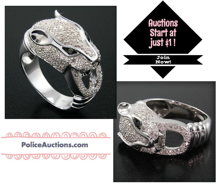 http://bit.ly/1eECoNq:Gorgeous Womens 14K White Gold Over Solid Sterling Silver Panther 1.0 CTW 100 Diamonds Size 7 Designer Ring