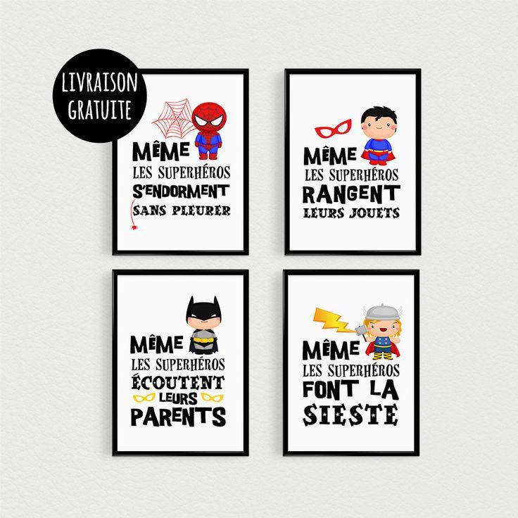 PROMO: Lot de 4 Posters citations super héros pour enfant dans une chambre ou décoration de Nursery de bébé