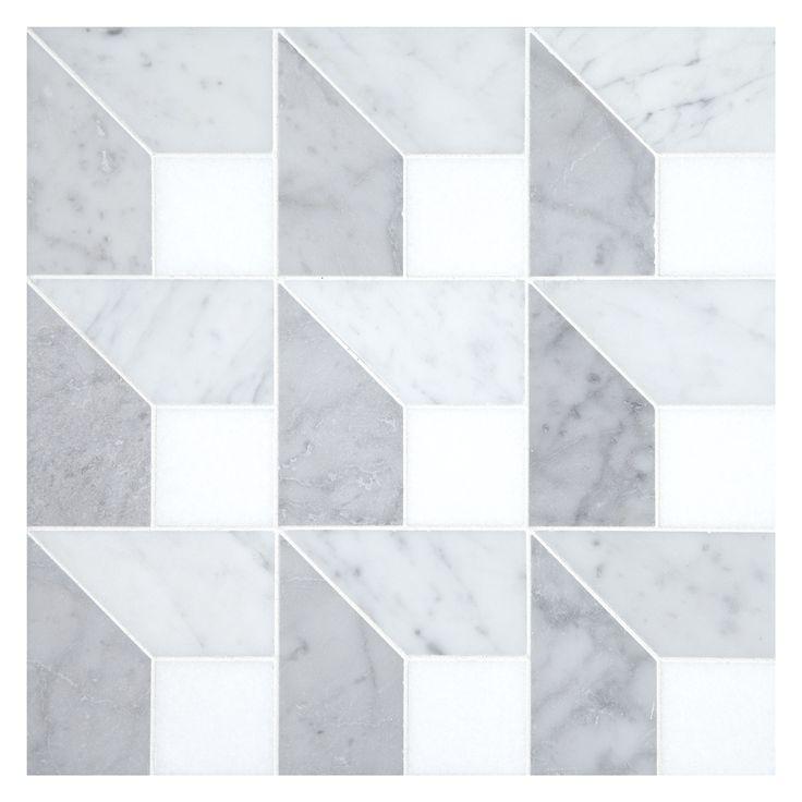Complete Tile Collection Unique Mosaic Patterns Dimensional Core In Whites Mi Color Thos P Light Carrara Dark