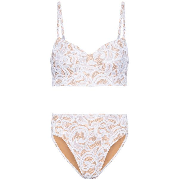 Norma Kamali Stretch-lace bikini ($400) ❤ liked on Polyvore featuring swimwear, bikinis, high waisted bikini, high rise bikini, retro high waisted bikini, retro swimwear and underwire bra