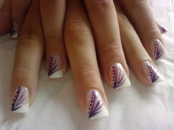 French manicure with purple decorations
