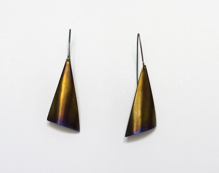 Gold sails-  golden titanium earrings from Arpelc Blue Titanium Jewelry by DaWanda.com