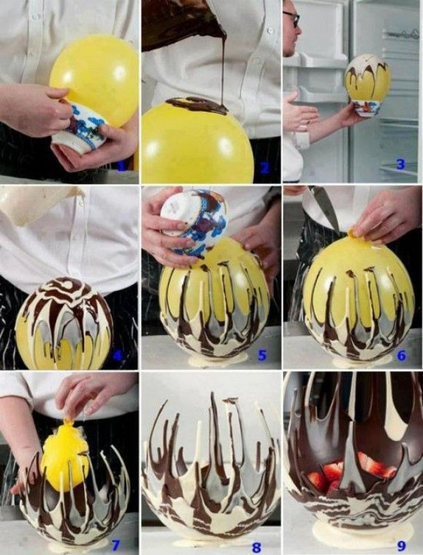 Elegant chocolate bowls - Just drizzle melted chocolate onto a balloon, let harden, and invert - then pop and remove balloon!