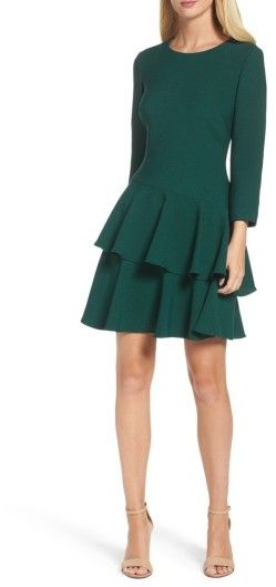 Emerald green knit long sleeve dress -Women's Eliza J Tiered Ruffle Knit Dress