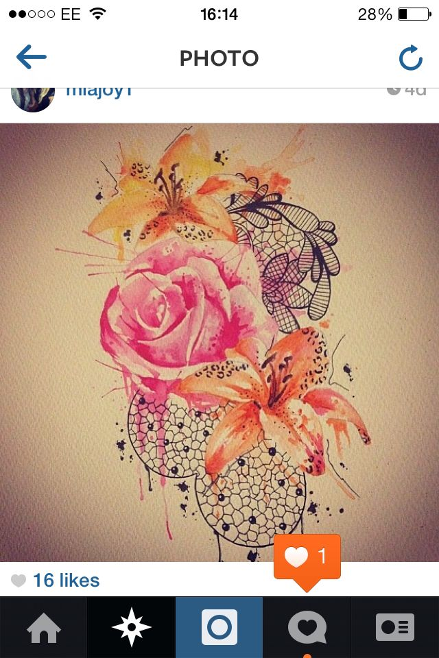 Watercolour tattoo - love the style of the rose- but would have some black line work put in it