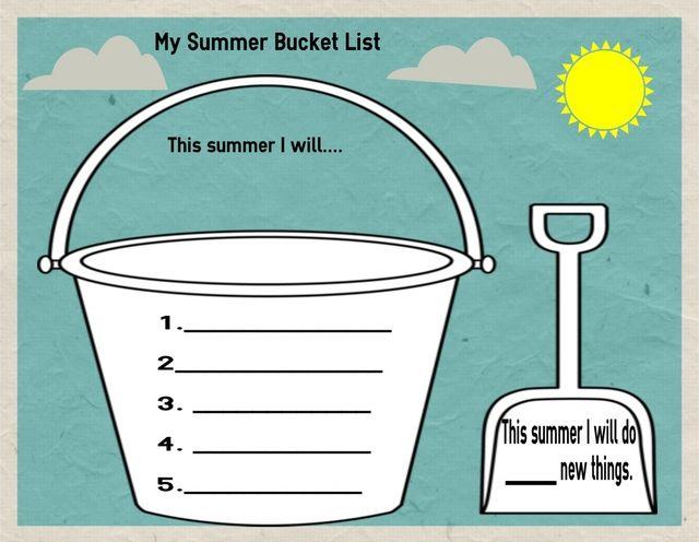 Summer Bucket List Writing Activity: Summer Bucket List Writing Activity