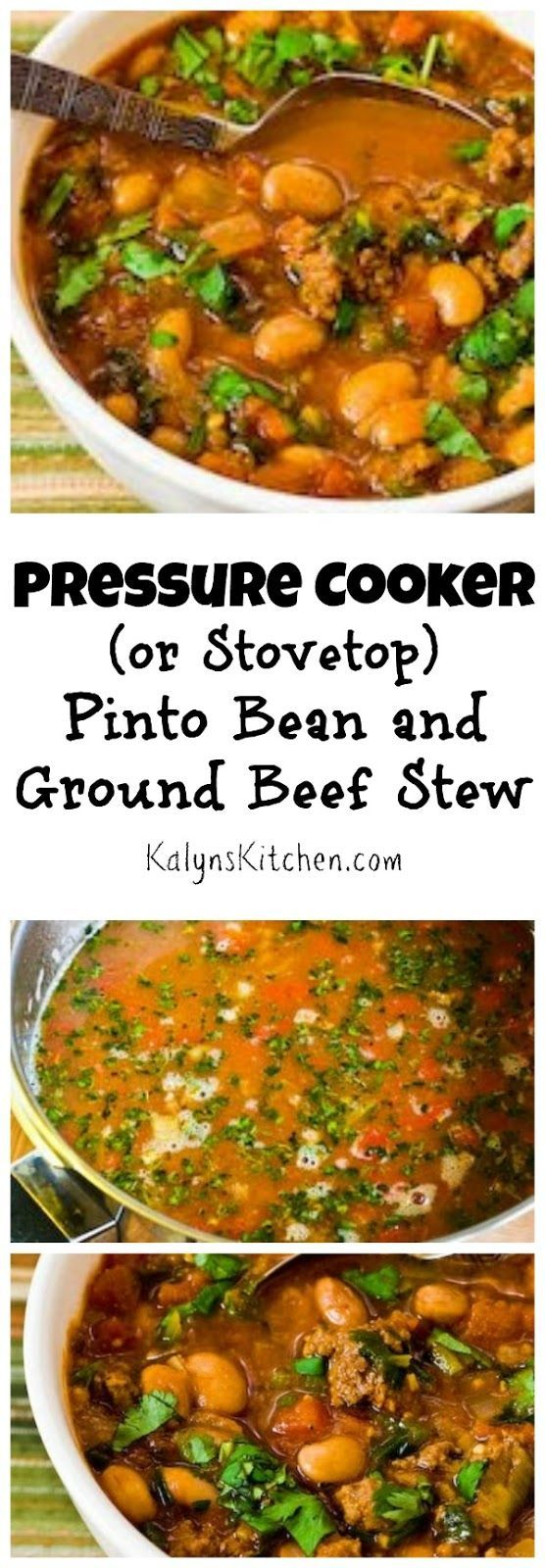This delicious and easy-to-make  Pressure Cooker Pinto Bean and Ground Beef Stew with Cumin and Cilantro has been a big hit on the blog. The recipe also has instructions for cooking it on the stove. Don't call this chili; there's no chile powder here! [from KalynsKitchen.com}