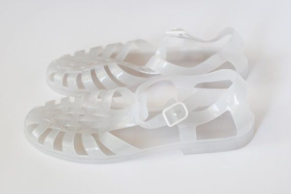 Jelly Sandals // White Plastic Shoes // 90s // Summer by Cobys