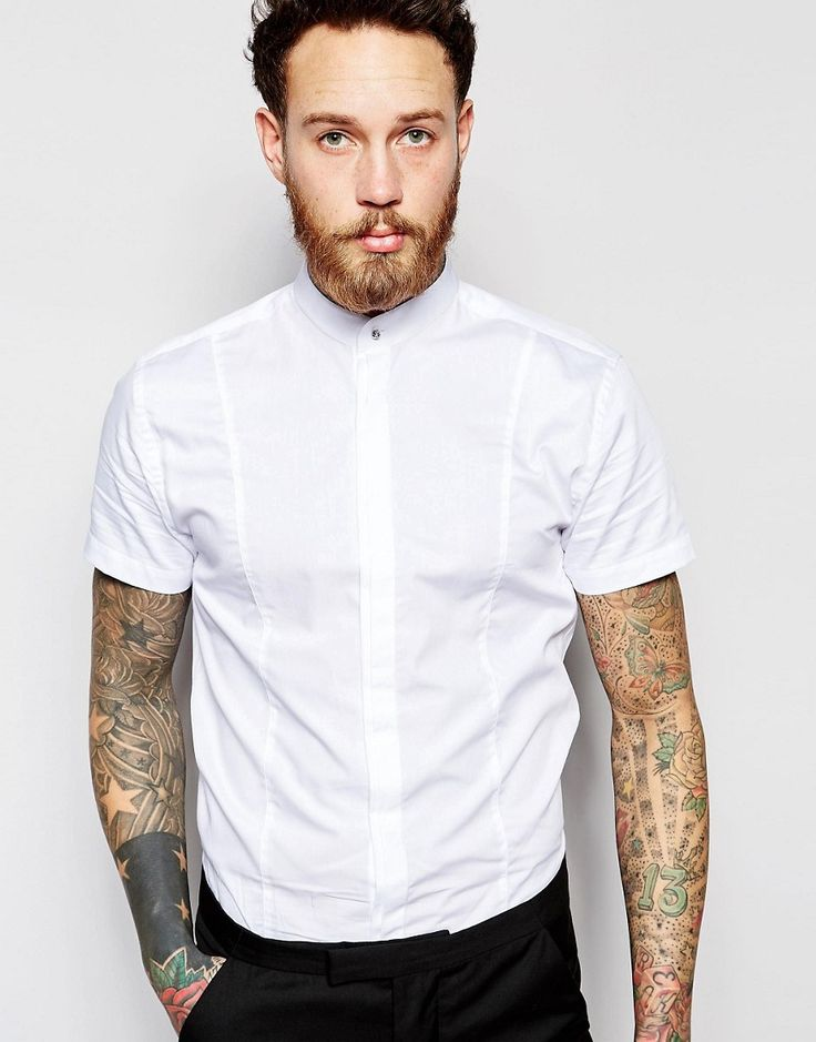 Image 1 ofNoose & Monkey Short Sleeve Grandad Shirt In Skinny Fit