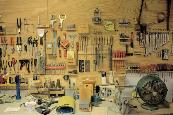 Tools on Wall in Nolls Pleasant Shop