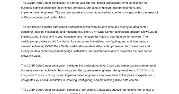 The CCNP Data Center certification is a three-year job-role–based professional-level certification for business services architects, technology architects, pre-sales engineers, design engineers, and implementation engineers.  https://docs.google.com/document/d/1tmHkd0CI3CoP3VFvnS8amJxcb01PPcywdiWkFGbHVrg/
