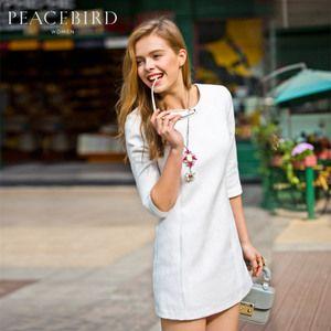 Pace Bird Femeile 2015 noua moda de primăvară în relief navetiști temperament solid al cincilea cu maneci rochie Drept