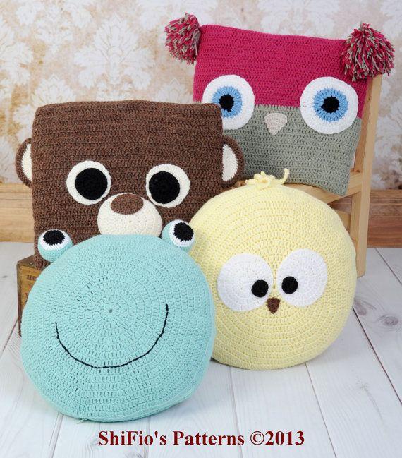Baby Crochet Pattern Animal Cushions, Owl, Bear, Chick, Frog Crochet Pattern DIGITAL DOWNLOAD 255 on Etsy, $4.37 AUD