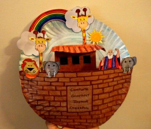 Noah 39 s ark craft made out of paper plates bible class for Noah and the ark crafts