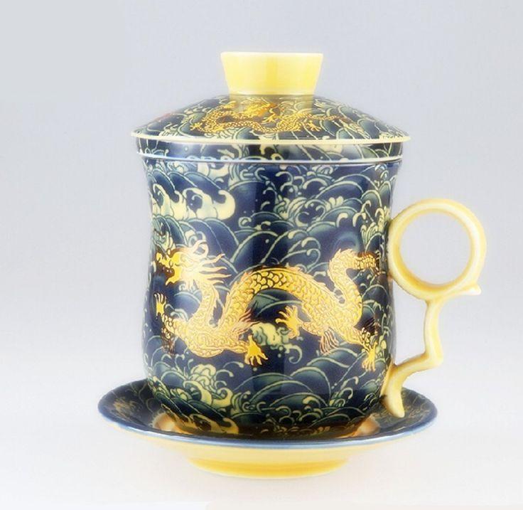 porcelain tea cups with lid | ... Porcelain Bone Tea Cups Tea Mug (With Lid) Black Dragon(China