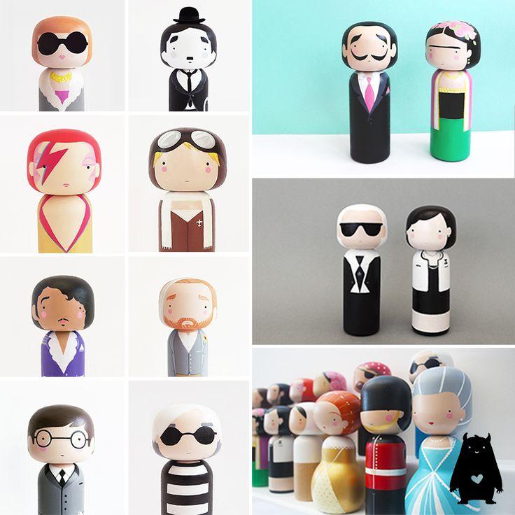 Met deze houten en handbeschilderde kokeshi dolls van Sketch Inc, laat je jouw kleintje op speelde wijze kennismaken met je persoonlijke helden!