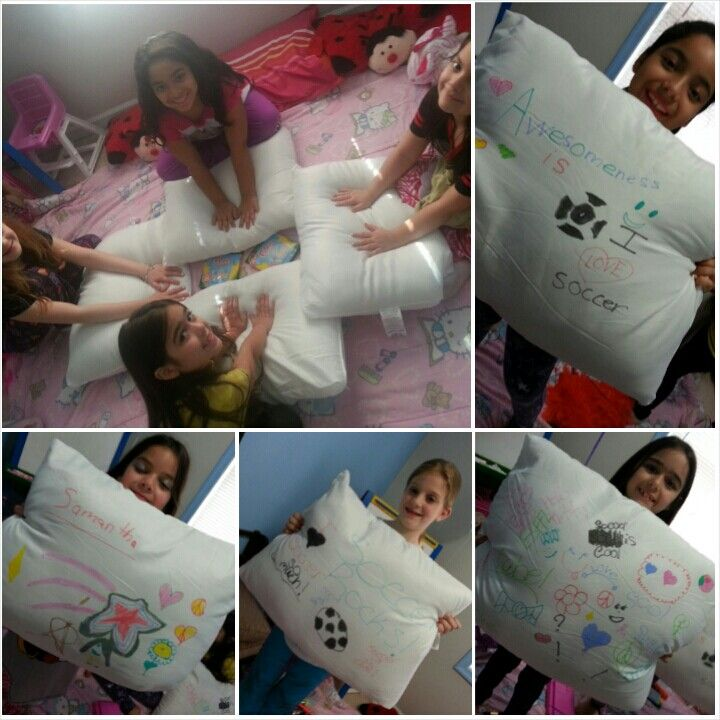 Here's a great idea have girls decorate pillows with fabric markers, which they can take home at the end of slumer party. Great memories...
