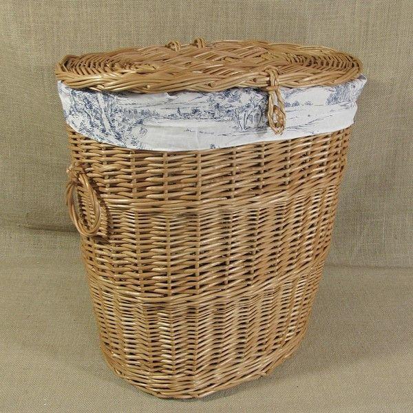 Wiklinowy kosz na pranie z obszyciem - wzór angielska wieś