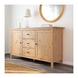 IKEA - HEMNES, Aparador, castanho claro, , A madeira maciça dá um toque natural.