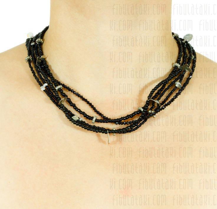 Fibula Takı - Salkım Saçak Serisi / Kolye - boncuk - metal - siyah