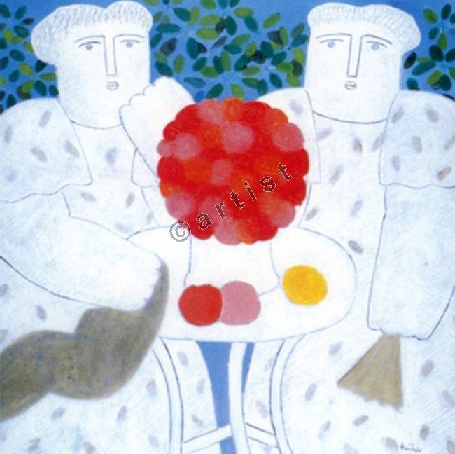 Φαίδων Πατρικαλάκις, Αέναη πνοή καθημερινότητας, 2003, λάδι σε μουσαμά, 100 x 100 εκ.
