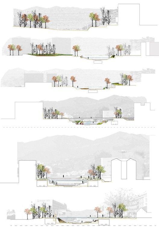 Segundo Lugar Concurso De Ideas Para La Integración Urbana Del Río Guadalmedina,Secciones