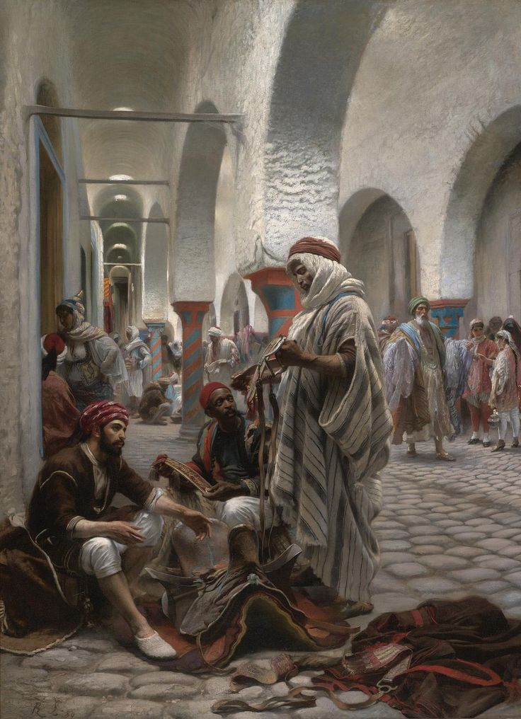 https://flic.kr/p/nLicTR | Anton Robert Leinweber - The Souk el Koumach, Tunis [1889] | Anton Robert Leinweber (1845 - 1921) was a Bohemian painter.  [Sold for £121,250 at Sotheby's, London - Oil on canvas, 179.7 x 128.2 cm]