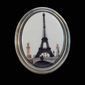 Eiffel Tower wall plaque by la Mesure du Temps. #Limoges porcelain rimmed with pewter. On the rear is a fitting for wall hanging. Made in France.