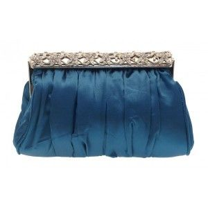 Ruched Peacock #Blue Floral Top #Clutch #Bag