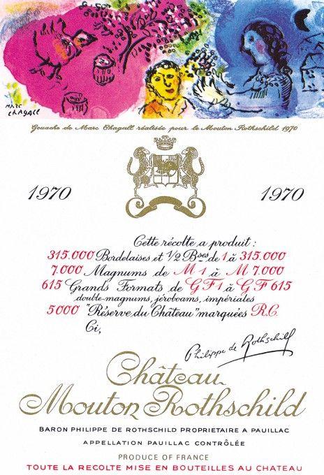 Etiquette Mouton Rothschild 1970  Marc CHAGALL