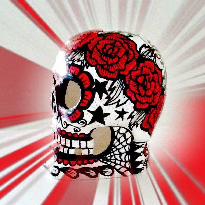 Ceramic Sugar Skull Lantern Day of the Dead Votive Holder Hand Painted Tattoo Heart Flowers Birthday Wedding Anniversary by sewZinski on Etsy https://www.etsy.com/listing/154394956/ceramic-sugar-skull-lantern-day-of-the