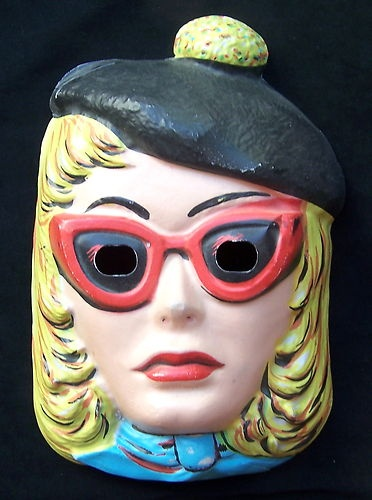 Vintage Halloween Plastic Beatnik Mask Woman Hippie Costume Beret Sunglasses