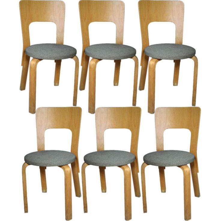 1stdibs   Set of Six Alvar Aalto Chairs